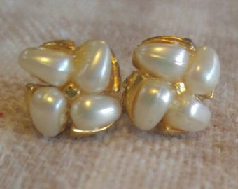 Faux Pearl Goldtone Clip Earrings
