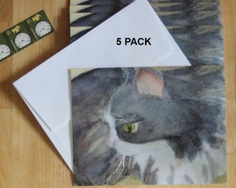 Cat Watercolor Note Cards Tabby Notecards Kitty Thank You Birthday Greeting Card Blank All Occasion Feline Invitations Pet Cat Sitter Gift