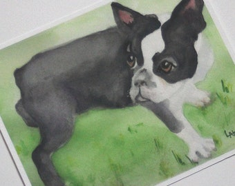 Boston Terrier Watercolor Print Black and White Dog Picture Watercolour Art Painting Nursery Artwork Home Office Wall Decor Fine Art Giclee