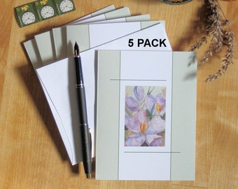 Purple Crocus Note Cards 5 Blank Spring Flower Easter Notecards Invitations Thank You Friendship Greeting Cards Paper Anniversary Watercolor