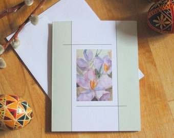 Purple Crocus Note Card Blank Spring Flower Easter Notecard Invitation Thank You Friendship Greeting Card Paper Anniversary Watercolor