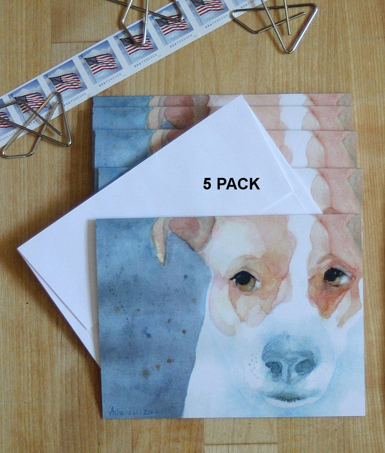 Set of 4 Puppy Dog Jack Russell Terrier Stationery Greeting Notecards// Envelopes