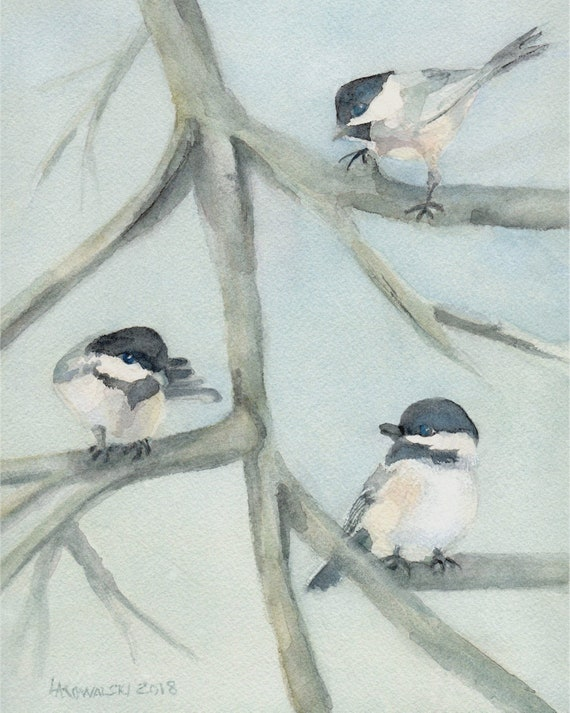 original watercolor painting chickadee bird artwork