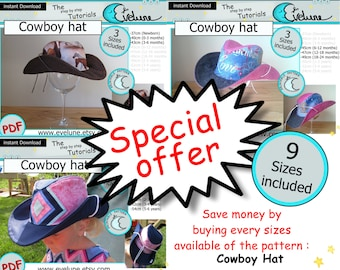 Cowboy hat PDF / English pattern / 9 sizes included / Baby / Kid / Toddler / sewing tutorial / DIY