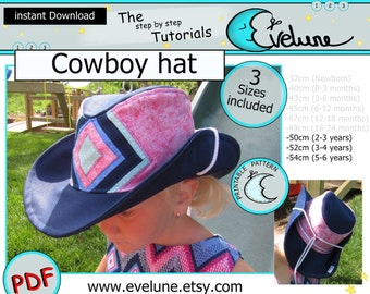 Cowboy hat PDF / English pattern / 3 sizes included / Baby / Kid / Toddler / sewing tutorial / DIY