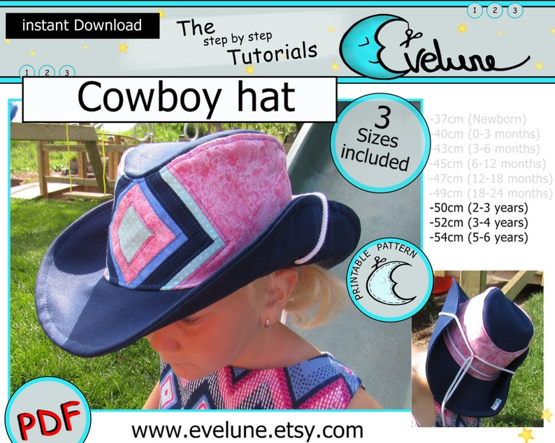 52385626148 Cowboy hat PDF   English pattern   3 sizes included   Baby