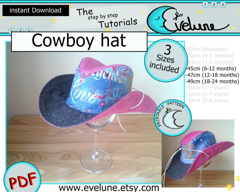 6ac3d534fbd Cowboy hat PDF   English   3 sizes included   Baby   Kids