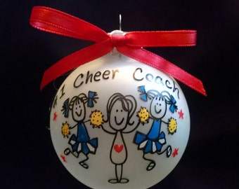 Cheerleader ornament, cheerleader coach gift, gift for coach, cheerleader coach,personalized christmas ornament,custom cheerleader gift