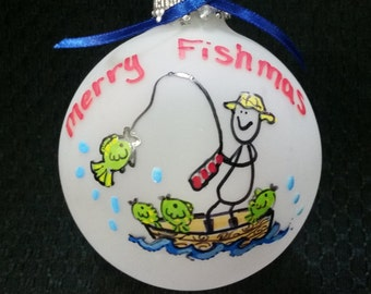 Fishing ornament, fisherman gift,gift for fisherman, fishing gift, christmas ornament, fisherman, fishing,sports gift