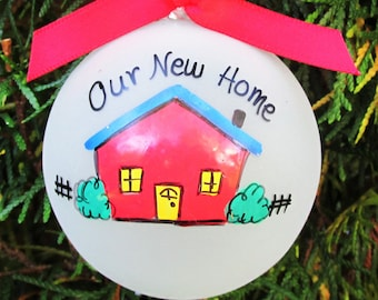 new home personalized ornament- new home gift-real estate gift-new house-ornament-glass globe