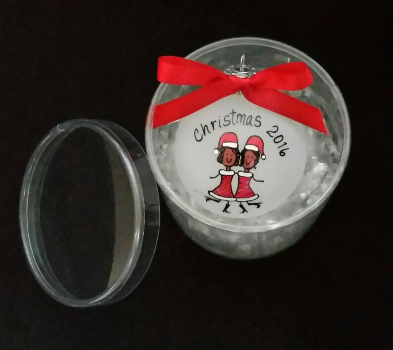 holiday present for friend Group of friends gift Best friends gift for sisters Afro American Christmas ornament best friend ornament