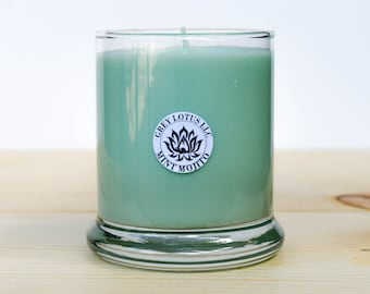 Mint Mojito Candle || Hand Poured || Organic Soy Candle // 9 oz. Glass