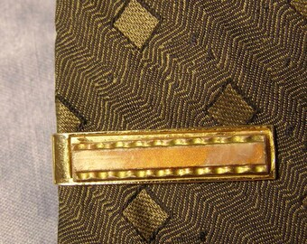252efcebd360 faux Goldstone Tie Clip, vintage goldtone Tie Clasp, Mid Century Brown  Lucite Tie Clasp, vintage mens Fashion Jewelry, Casual Tie Clip