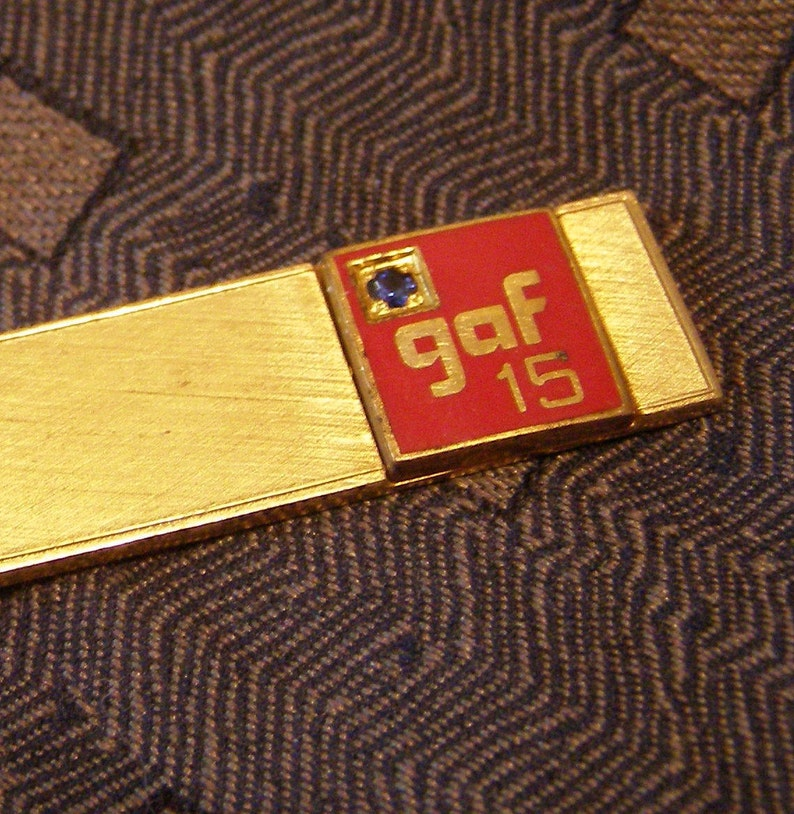 GAF Materials Company Tie Bar 15 yr Employee Award w Sapphire Gem w 12k gold fill Finish vintage Advertising Commendation Tie Clip Jewelry