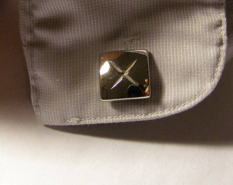 vintage Cross X design Cufflinks w silver Finish - heavy, thick square, glossy mens Fashion Jewelry - Business attire, Formal Husband gift
