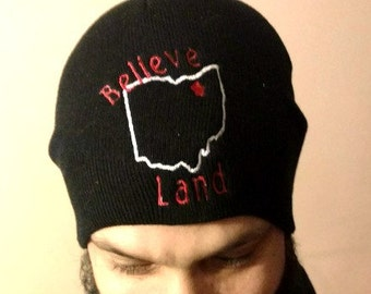 Believe Land Winter Hat - Embroidered Beanie - Men or Womens Skull Cap-  Cleveland Ohio Fan gear a08b8853e