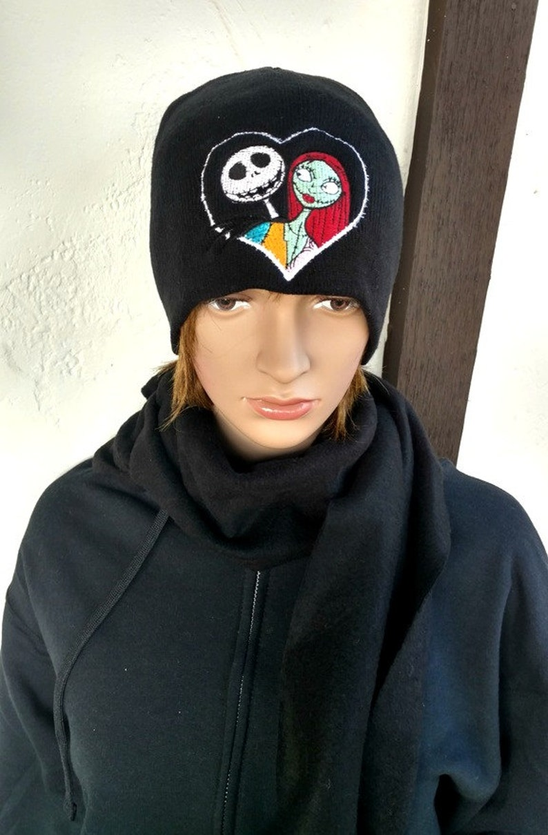 3ecfb78d3f77f Jack Skellington and Sally Winter Hat Embroidered Beanie