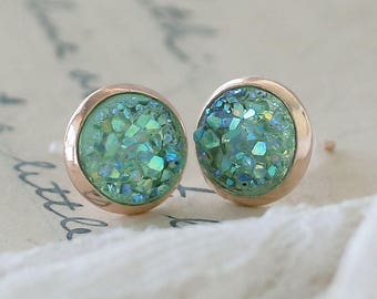 Mint Druzy Earrings - Faux Druzy Earrings - Small Druzy Earrings - Elegant Earrings for Mom - Girlfriend Studs - Druzy Stud Earrings