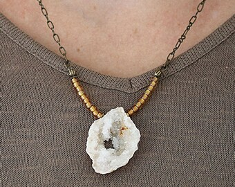 Raw Stone Necklace - Statement Jewelry - Druzy Necklace - Rough Cut Necklace - Geode Slice Pendant -  Pendant Gift for a Best Friend