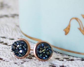 Tiny Druzy Earrings - Metallic Blue Druzy Stud Earrings - Faux Druzy Earrings - Earrings for a Sister - Earrings for a Friend - Druzy Posts