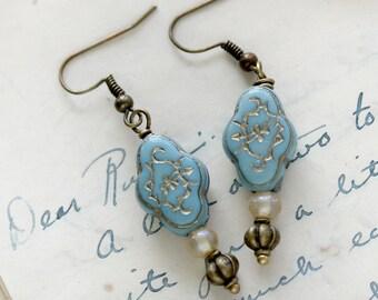 Blue Romantic Earrings - Dangle Earrings - Friend Earrings Gift - Dangle Earrings for Mom - Small Gift for Girlfriend - Gift for Wife