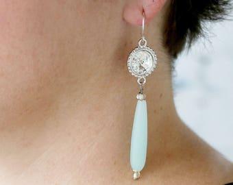 Romantic Dangle Earrings - Elegant Earrings for Her -  Seaglass Earrings -  Wedding Earrings - Long Earrings - Drop Earrings