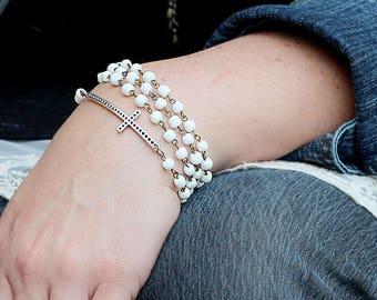 Sideways Cross Jewelry - Cross Bracelet Gift - Bracelet Gift  for Wife - Wife Loves Jewelry - Bead Bracelet for Mom - Wrap Bracelet