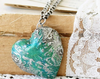 Large Heart Necklace - Jewelry for Girlfriend - Romantic Necklace for Her - Heart Jewelry for Mom - Pendant Gift for Best Friend
