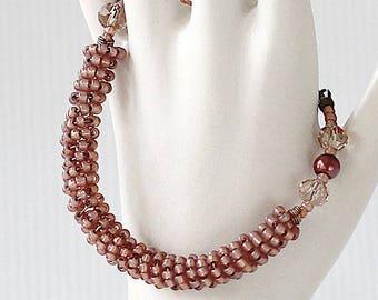 Beaded Bracelet Rope - Seed Bead Bracelet - Chunky Bracelet - Bracelet for Wife - Date Night Jewelry - Rose Gold Bracelet -Romantic Bracelet