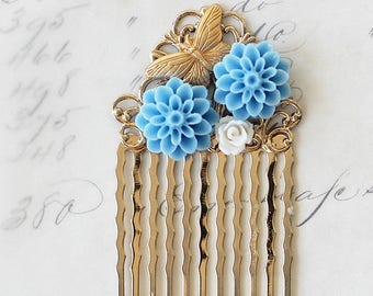 Woodland Wedding Hair Comb - Gold Bridal Hair Comb - Floral Hair Comb - Vintage Style Bridal Hair Comb - Flower Hair Comb - Something Blue