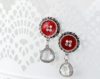 Romantic Drop Earrings - Button Earrings with Dangle - Red Earrings - Post Earrings - Earrings for the Wife - Drop Earrings for Mom