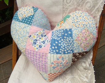Upcycled Vintage Quilt Heart Pillow, Quilted Heart Pillow