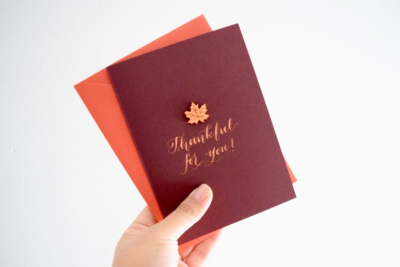 Thankful for You Handmade Calligraphy Card for Thanksgiving  image 0
