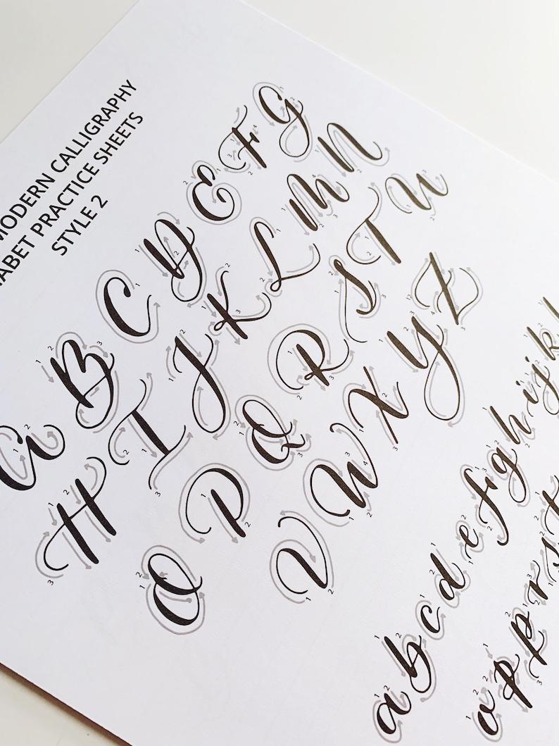 Style 2 Learn Beginner Calligraphy Alphabet Printable Worksheet Modern Calligraphy Practice Alphabet Printable