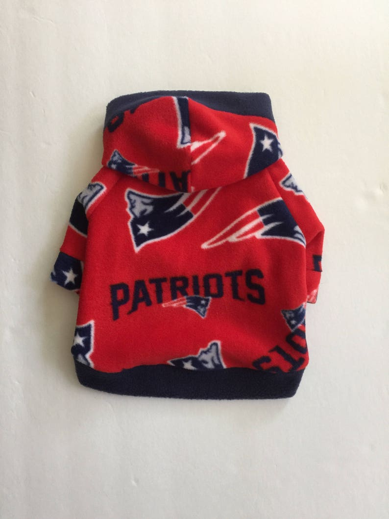 size 40 adec7 96ff9 New England Patriots Red Fleece Dog Hoodie, Pet Sweater for Small Breeds