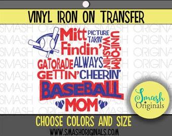 Baseball Mom Subway Art Vinyl Iron On  1ed2d0e6cf78