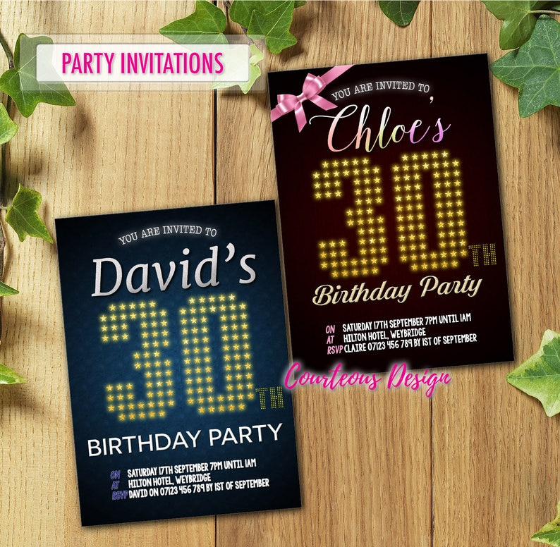 50x Personalised Birthday Party Invitations For 40th 50th 60th