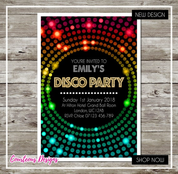 Personalised Birthday Disco Party Invitations Dotty for Boy or Girl Envelopes