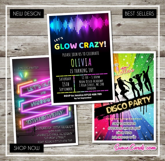 Birthday Disco Thank You Cards or Invitations Party Invites GLOW Dance Neon UV