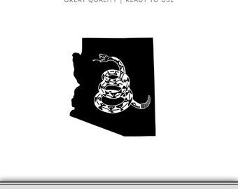 Arizona Gadsden Flag Snake Graphic - Don't Tread On Me Flag - Snake Flag SVG - Don't Tread On Me SVG - Instant Download - Ready to Use!