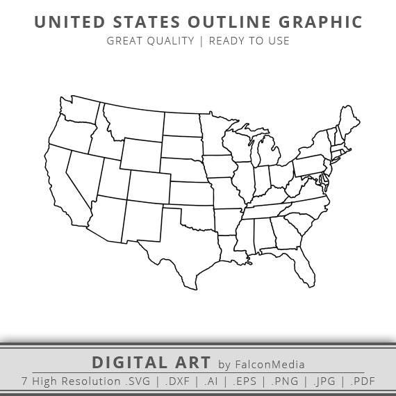 United States Map Svg.United States Map Svg United States Of America Map Outline Etsy