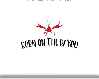 Red Crawfish Born on the Bayou Silhouette & Cricut - Crawfish Clip Art - Crawfish DXF - Crawfish SVG - Boiled Crawfish - Instant Download