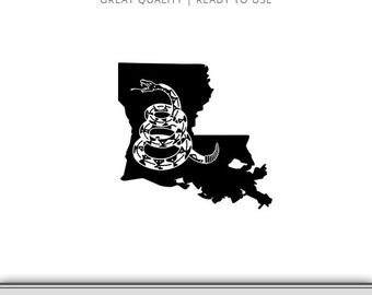 Louisiana Gadsden Flag Snake Graphic - Don't Tread On Me Flag - Snake Flag SVG - Don't Tread On Me SVG - Instant Download - Ready to Use!