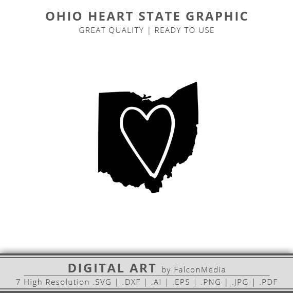 Ohio Svg Ohio Heart State Svg Ohio State Outline Svg Etsy