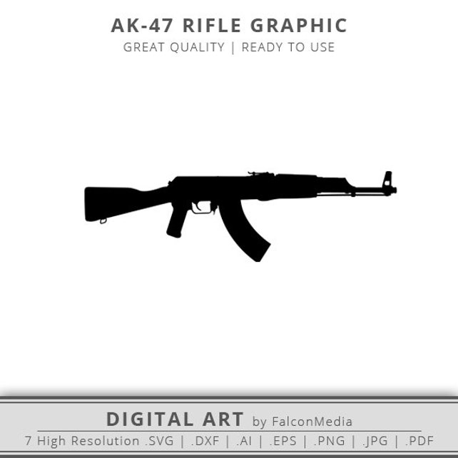 ak 47 graphic rifle silhouette rifle svg ak47 svg etsy