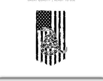 Gadsden Flag Snake Graphic - Don't Tread On Me Flag - Snake Flag svg - Don't Tread On Me SVG - USA Flag - USA svg - Instant Download