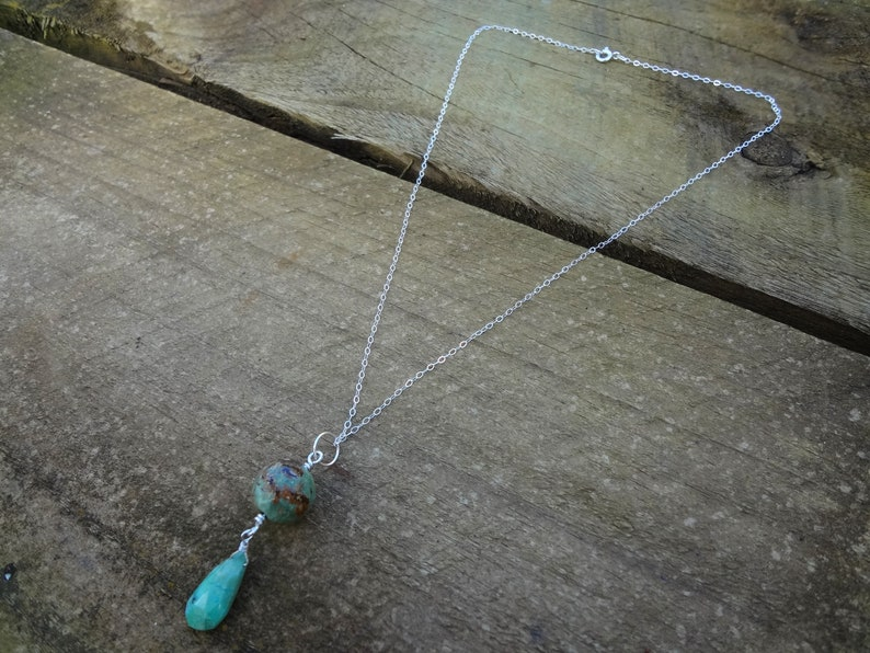 Chrysoprase Pendant Green Opal Chrysoprase and Sterling Silver Gemstone Teardrop Pendant Handmade by Miss Leroy.