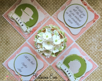 Pre made Wedding exploding box with 3D arbor - personalized wedding gift