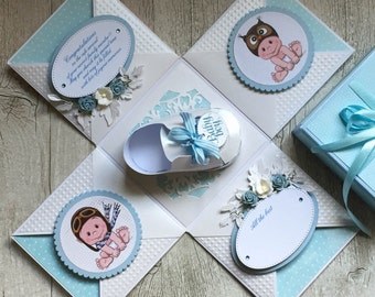 PREMADE Unique handmade Exploding box with baby shoe - for new born baby boy, baptism, first birthday, baby shower