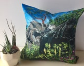 "Tree Art Throw Pillow Cover  made from my original artwork called ""Arbutus Mountain"""
